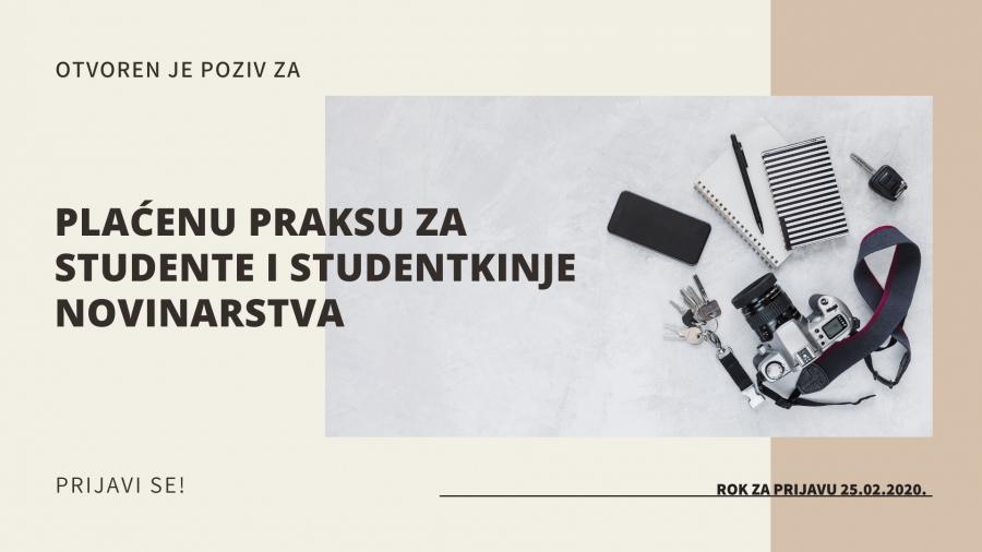 NVO CAZAS raspisuje konkurs za plaćenu stručnu praksu za studente novinarstva